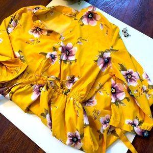 Dress Yellow Floral Fun elastic tie waist 1X